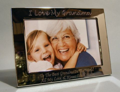Personalised Silver Plated Photo Frame I Love My Nanny Grandma Gift